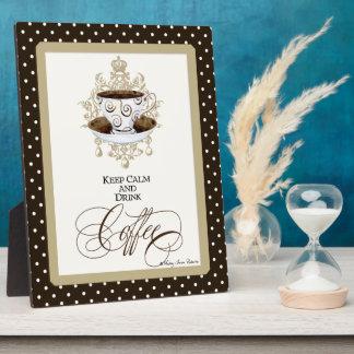 Mantenga café tranquilo y de la bebida - arte placa expositora