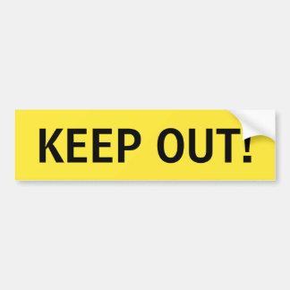 Mantenga hacia fuera pegatina amarillo y negro