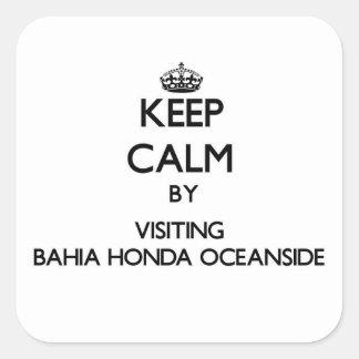 Mantenga la calma por la costa de Bahía que visita Pegatinas Cuadradases Personalizadas