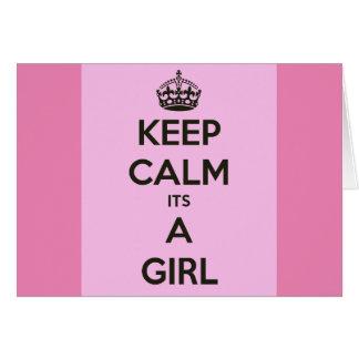 Mantenga la calma su un chica tarjeta de felicitación