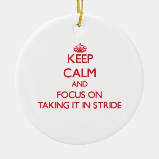 Mantenga la calma y el foco en tomarlo paso grande ornamento para arbol de navidad