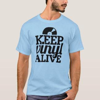 Mantenga la camiseta viva del vinilo - azul claro