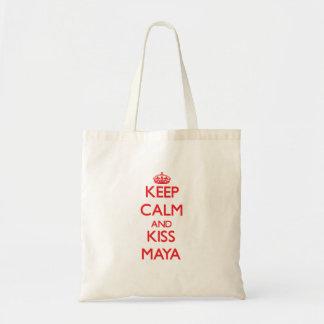 Mantenga maya tranquilo y del beso bolsas de mano