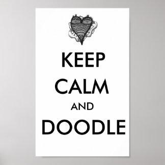Mantenga poster tranquilo y del Doodle Póster