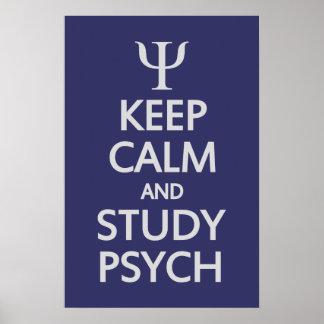 Mantenga poster tranquilo y del estudio de Psych Póster