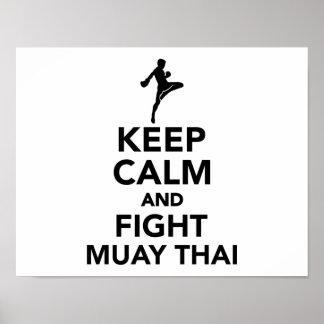 Mantenga tailandés tranquilo y de la lucha de Muay Póster