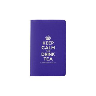 Mantenga té tranquilo y de la bebida cuaderno de bolsillo moleskine