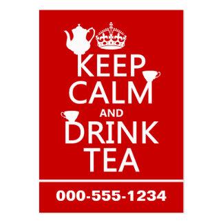 Mantenga té tranquilo y de la bebida - todos los c tarjetas de visita