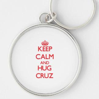 Mantenga tranquilo y abrazo Cruz Llaveros Personalizados