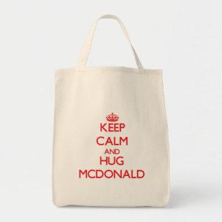 Mantenga tranquilo y abrazo Mcdonald Bolsas