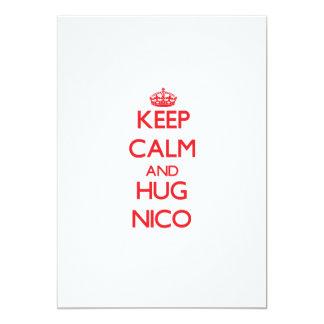 Mantenga tranquilo y ABRAZO Nico Invitación 12,7 X 17,8 Cm