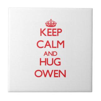 Mantenga tranquilo y ABRAZO Owen Teja Cerámica