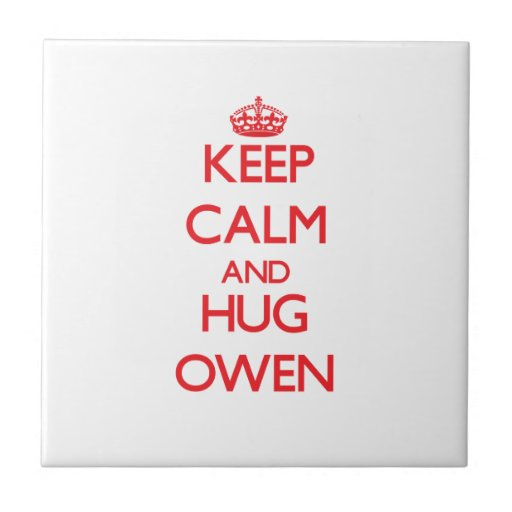 Mantenga tranquilo y ABRAZO Owen Azulejo Ceramica