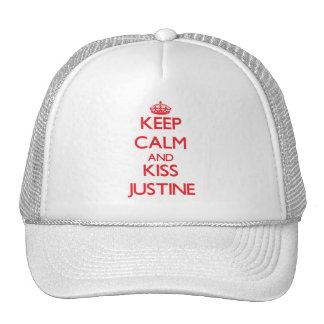 Mantenga tranquilo y beso Justine Gorro De Camionero