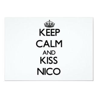 Mantenga tranquilo y beso Nico Invitación 12,7 X 17,8 Cm