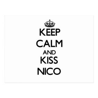 Mantenga tranquilo y beso Nico Postales