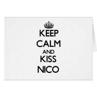 Mantenga tranquilo y beso Nico Tarjetas