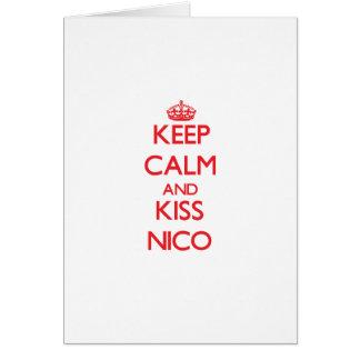 Mantenga tranquilo y beso Nico Tarjeta