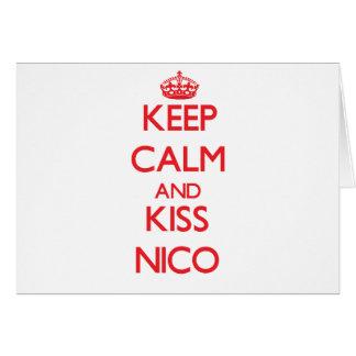 Mantenga tranquilo y beso Nico Tarjeton