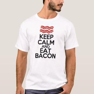 mantenga tranquilo y coma el tocino divertido camiseta