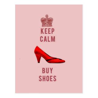 Mantenga tranquilo y compre zapatos postal