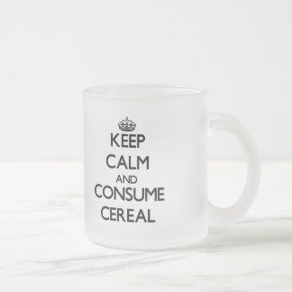 Mantenga tranquilo y consuma el cereal taza cristal mate