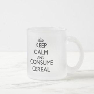 Mantenga tranquilo y consuma el cereal taza de cristal