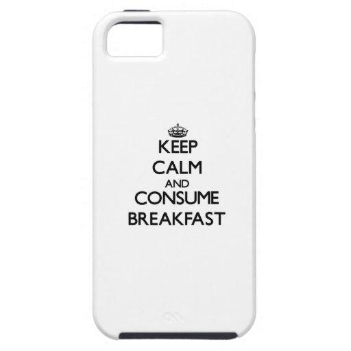 Mantenga tranquilo y consuma el desayuno iPhone 5 Case-Mate cárcasas