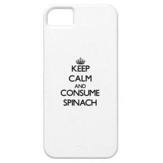 Mantenga tranquilo y consuma la espinaca iPhone 5 cárcasa