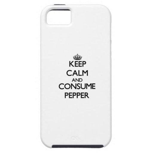 Mantenga tranquilo y consuma la pimienta iPhone 5 cárcasas