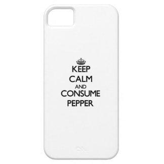 Mantenga tranquilo y consuma la pimienta iPhone 5 fundas