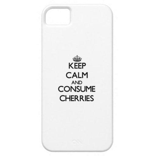 Mantenga tranquilo y consuma las cerezas iPhone 5 Case-Mate carcasa