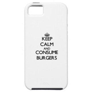 Mantenga tranquilo y consuma las hamburguesas iPhone 5 Case-Mate coberturas
