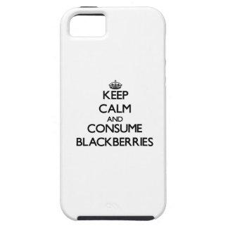 Mantenga tranquilo y consuma las zarzamoras iPhone 5 Case-Mate carcasa