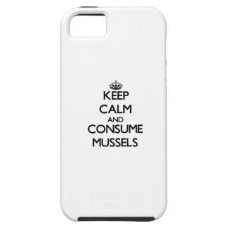 Mantenga tranquilo y consuma los mejillones iPhone 5 Case-Mate protector