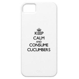 Mantenga tranquilo y consuma los pepinos iPhone 5 Case-Mate cobertura