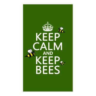Mantenga tranquilo y guarde las abejas - todos los tarjetas de negocios