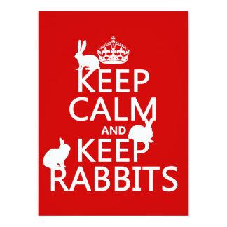Mantenga tranquilo y guarde los conejos - todos invitacion personalizada