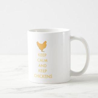 Mantenga tranquilo y guarde los pollos taza de café