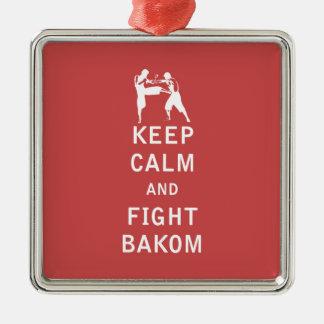 Mantenga tranquilo y lucha Bakom Adorno Cuadrado Plateado