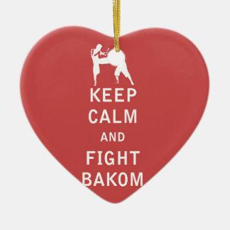 Mantenga tranquilo y lucha Bakom Adorno Navideño De Cerámica En Forma De Corazón
