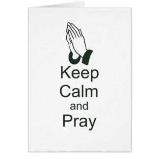 Mantenga tranquilo y ruegue el diseño cristiano felicitacion