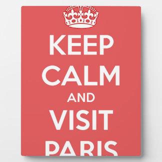 Mantenga tranquilo y visita París Placa Expositora
