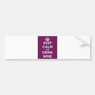 Mantenga vino tranquilo y de la bebida pegatina para coche
