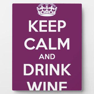 Mantenga vino tranquilo y de la bebida placa expositora