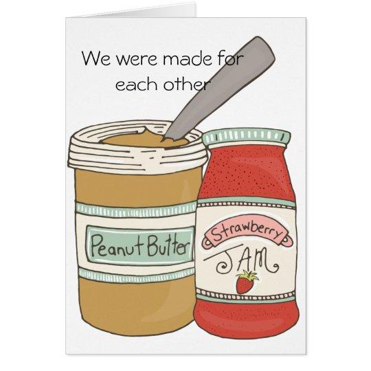 Mantequilla y jalea de cacahuete tarjeta de felicitación