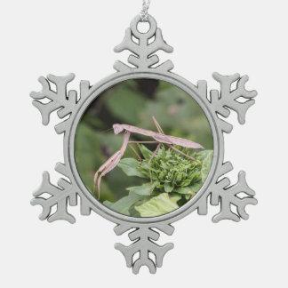 Mantis religiosa adorno de peltre en forma de copo de nieve