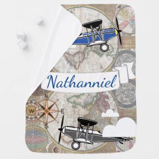 Mantita Para Bebé Aeroplanos del vintage del explorador del mundo -