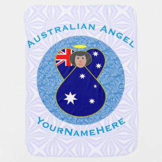 Mantita Para Bebé Ángel australiano en el cuadrado Squiggly blanco y