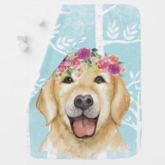 Mantita Para Bebé Animal feliz de la flor en Bosque-Perro-Perro